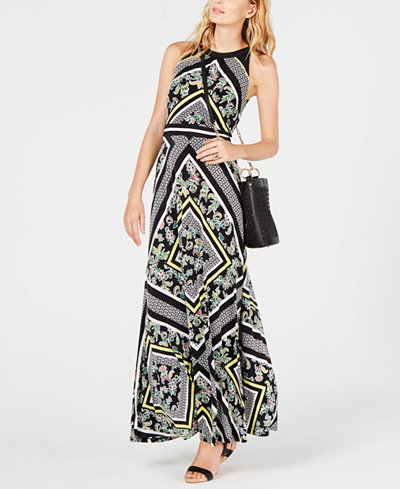 I.N.C. Printed Halter Maxi Dress, Created for Macy's