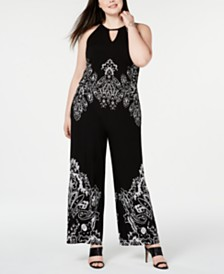 I.N.C. Plus Size Printed Keyhole Halter Jumpsuit, Created for Macy's