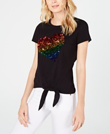 I.N.C. Pride Tie-Front Rainbow Sequin T-Shirt, Created for Macy's