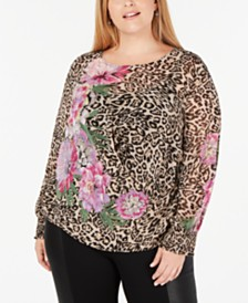 I.N.C. Plus Size Printed Top, Created for Macy's