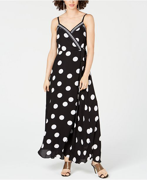 INC International Concepts I.N.C. Dot & Stripe Maxi Dress, Created for Macy's
