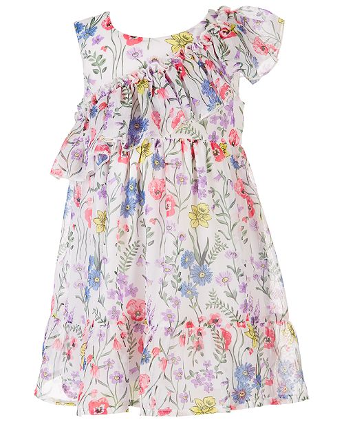 65b4263e86a45 Baby Girls Floral-Print Chiffon Dress