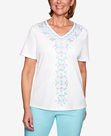 Catalina Island Embroidered Studded Top