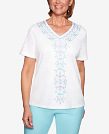 Alfred Dunner Catalina Island Embroidered Studded Top