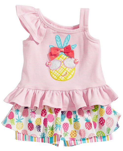 Bonnie Baby 2-Pc. Pineapple Top & Printed Skorts Set