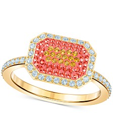 Swarovski Gold-Tone Colored Pavé Rectangular Ring