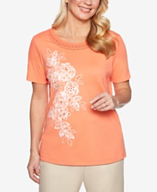 Alfred Dunner Petite Martinique Appliqué-Flowers Knit Top