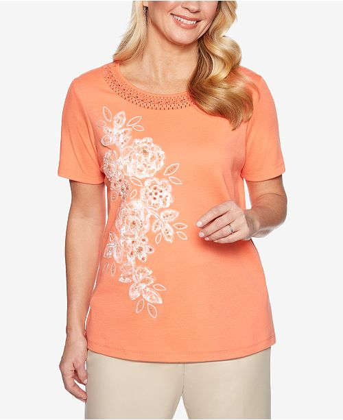 Alfred Dunner Martinique Embroidered Short-Sleeve Top