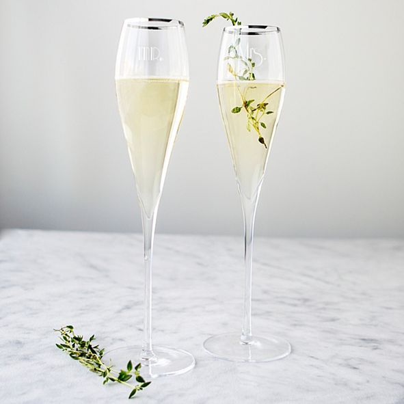 Cathy's Concepts Mr. & Mrs. Gatsby Silver Rim Champagne Flutes