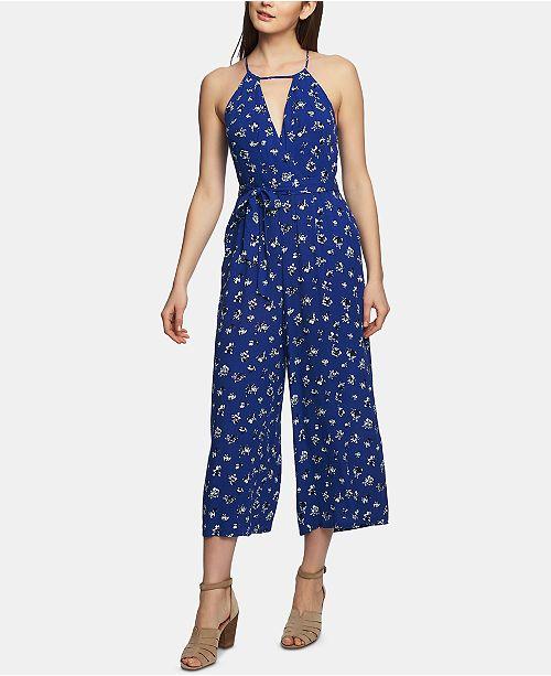 1.STATE Wrap-Front Floral-Print Jumpsuit