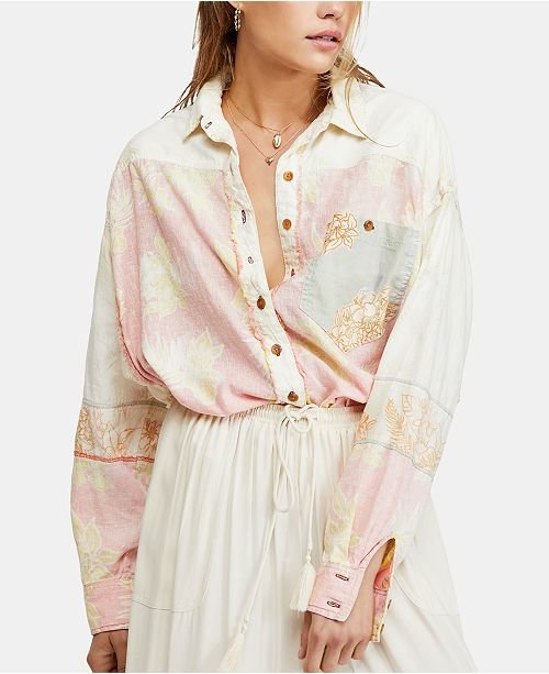 Free People Chasing Waves Mixed-Print Button-Down Top