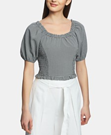 1.STATE Gingham Seersucker Smocked Top