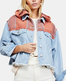 Free People Baja Mixed-Media Hooded Denim Jacket