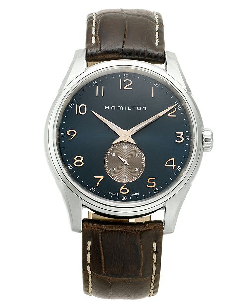 Hamilton LIMITED EDITION Men's Swiss Jazzmaster Thinline Brown Leather Strap Watch 40mm, Created for Macy's
