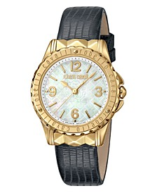 By Franck Muller Women's Swiss Quartz Black Leather Strap Watch, 34mm