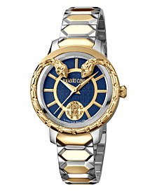 By Franck Muller Women's Swiss Quartz Blue Dial Two-Tone Gold Stainless Steel Bracelet Watch, 34mm