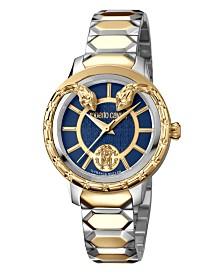 Roberto Cavalli By Franck Muller Women's Swiss Quartz Blue Dial Two-Tone Gold Stainless Steel Bracelet Watch, 34mm