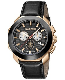 By Franck Muller Men's Rose Gold Swiss Chronograph Black Calfskin Leather Strap Watch, 44mm