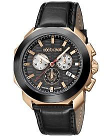 Roberto Cavalli By Franck Muller Men's Rose Gold Swiss Chronograph Black Calfskin Leather Strap Watch, 44mm