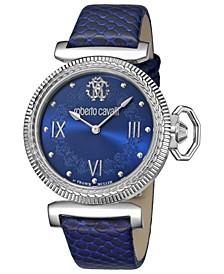 By Franck Muller Women's Swiss Quartz Blue Calfskin Leather Strap Watch, 38mm