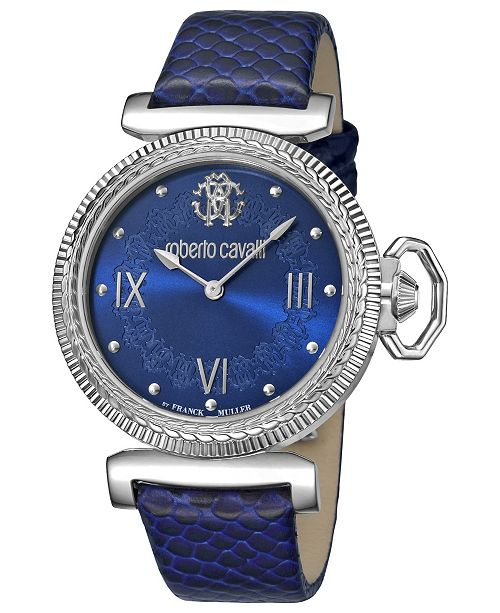 Roberto Cavalli By Franck Muller Women's Swiss Quartz Blue Calfskin Leather Strap Watch, 38mm