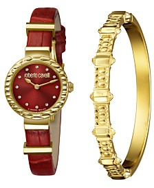 Roberto Cavalli By Franck Muller Women's Diamond Swiss Quartz Red Calfskin Leather Watch & Bracelet Gift Set, 26mm