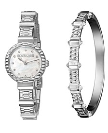 By Franck Muller Women's Diamond Swiss Quartz Stainless Steel Watch & Bracelet Gift Set, 26mm