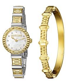 By Franck Muller Women's Diamond Swiss Quartz Two-Tone Stainless Steel Watch & Bracelet Gift Set, 26mm