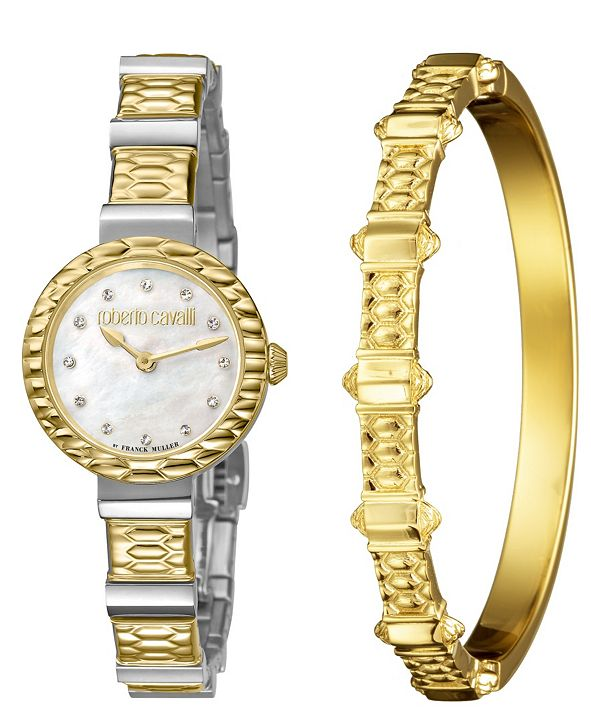 Roberto Cavalli By Franck Muller Women's Diamond Swiss Quartz Two-Tone Stainless Steel Watch & Bracelet Gift Set, 26mm