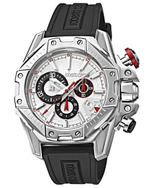 By Franck Muller Men's Swiss Chronograph White Dial Black Rubber Strap Watch, 44mm