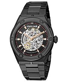 Roberto Cavalli By Franck Muller Men's Skeleton Swiss Automatic Black Bracelet Watch, 44mm