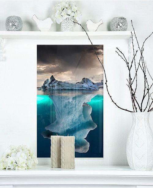 "Design Art Designart 'Large Iceberg In Sea' Seascape Photography Metal Wall Art - 12"" X 20"""