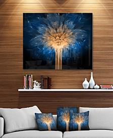 """Designart 'Fractal 3D Blue Dragon Flower' Abstract Metal Wall Art - 40"""" X 30"""""""