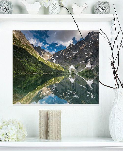"Design Art Designart 'Reflection Of Mountain Peaks' Landscape Metal Wall Art - 20"" X 12"""