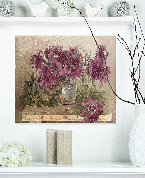 "Design Art Designart 'Bouquet Of Pink Peonies' Floral Metal Wall Art - 20"" X 12"""
