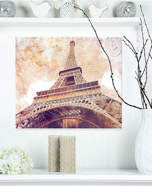 "Design Art Designart 'Paris Eiffel Towerparis Postcard Design' Cityscape Metal Wall Art - 20"" X 12"""