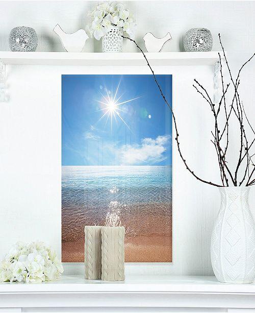 """Design Art Designart 'Serene Seascape With Bright Sun' Modern Beach Metal Wall Art - 12"""" X 20"""""""