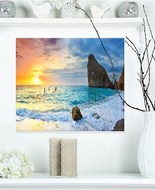 "Design Art Designart 'Vibrant Morning Sea With Yellow Sun' Seascape Metal Wall Art - 20"" X 12"""