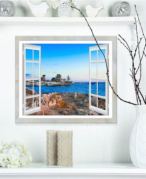 "Design Art Designart 'Open Window To Blue Seashore' Oversized Landscape Wall Art Print - 20"" X 12"""