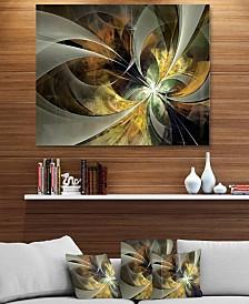 """Designart 'Symmetrical Gold Fractal Flower' Floral Metal Wall Art - 40"""" X 30"""""""