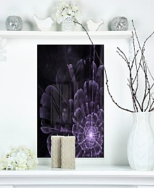 "Designart 'Glowing Crystal Purple Fractal Flower' Floral Metal Wall Art - 12"" X 20"""