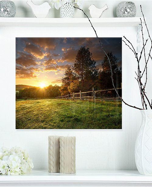 "Design Art Designart 'Fenced Ranch At Sunrise' Landscape Metal Wall Art - 20"" X 12"""