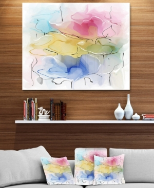 """Image of Designart 'Abstract Floral Illustration Design' Extra Large Floral Wall Art - 40"""" X 30"""""""