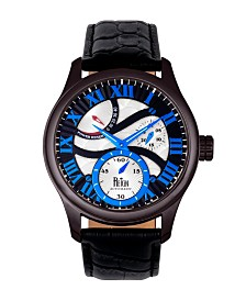 Reign Bhutan Automatic Black Case, Black and Blue Dial, Genuine Black Leather Watch 43mm
