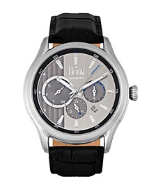 Gustaf Automatic Silver Dial, Genuine Black Leather Watch 43mm