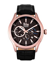 Gustaf Automatic Black Dial, Rose Gold Case, Genuine Black Leather Watch 43mm