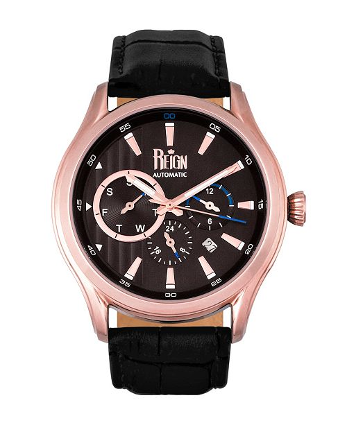 Reign Gustaf Automatic Black Dial, Rose Gold Case, Genuine Black Leather Watch 43mm