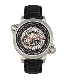 Thanos Automatic Black Dial, Silver Case, Genuine Black Leather Watch 47mm