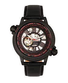 Thanos Automatic Black and Red Case, Genuine Black Leather Watch 47mm