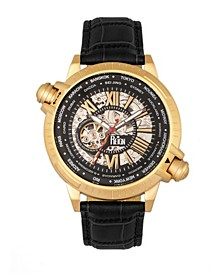 Thanos Automatic Black Dial Gold Case, Genuine Black Leather Watch 47mm
